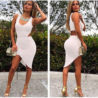 U Neck Sleeveless Asymmetrical Waist Cut-out White Mini Dress