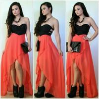 Off Shoulder Flouncing Asymmetrical Design Ankle Length Dress