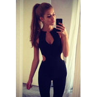 Sexy Cut-out Solid Black One-piece Romper Jumpsuit