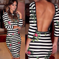 Backless Floral Print Stripped Knee Length Dress