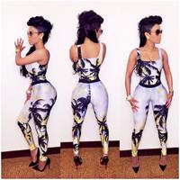 Keyshia Style Skinny Coconut Palm Print Jumpsuits