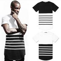Men Hip Hope Extended Black and White Striped T-Shirt