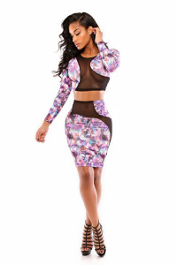 BrytCouture Sexy Floral Print Two-piece Dress