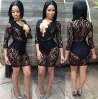 V Neck Design Three Quarter Sleeves Black Lace Mini Dress