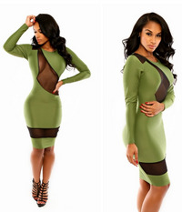 Mesh Patchwork Bandage Mini Dress