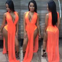 Sexy Sleeveless V-Neck Orange Polyester Maxi Dress