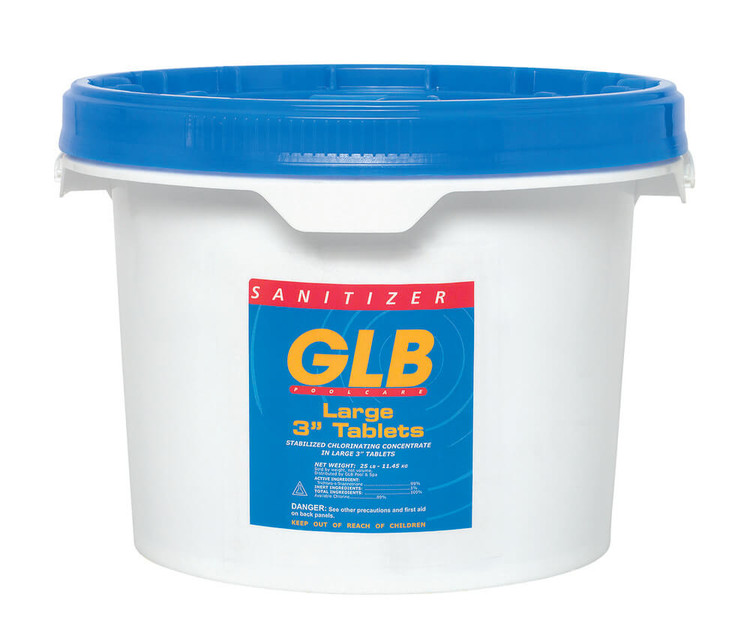 """GLB® Large 3"""" Stabilized Chlorine Tablets - 25 lb"""