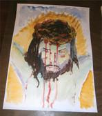 Jesus, Forsaken and Forgiving. Watercolor by Dom Julian Stead, OSB.