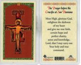 Prayer of Saint Francis of Assisi before Crucifix of San Damiano, laminated prayer card
