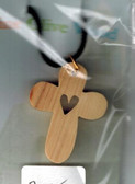 Christian love olive wood cross on cord