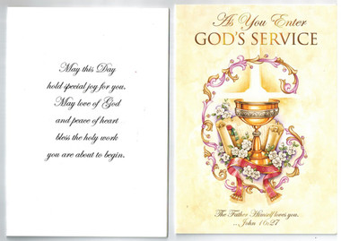 For a priest or deacon--greeting card as he enter's God's ...