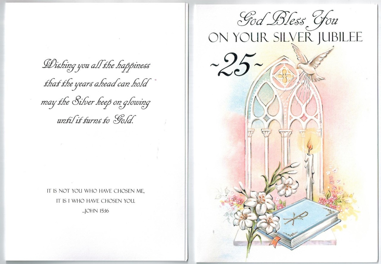 Silver Jubilee 25 Years Greeting Card For Priest Deacon Nun