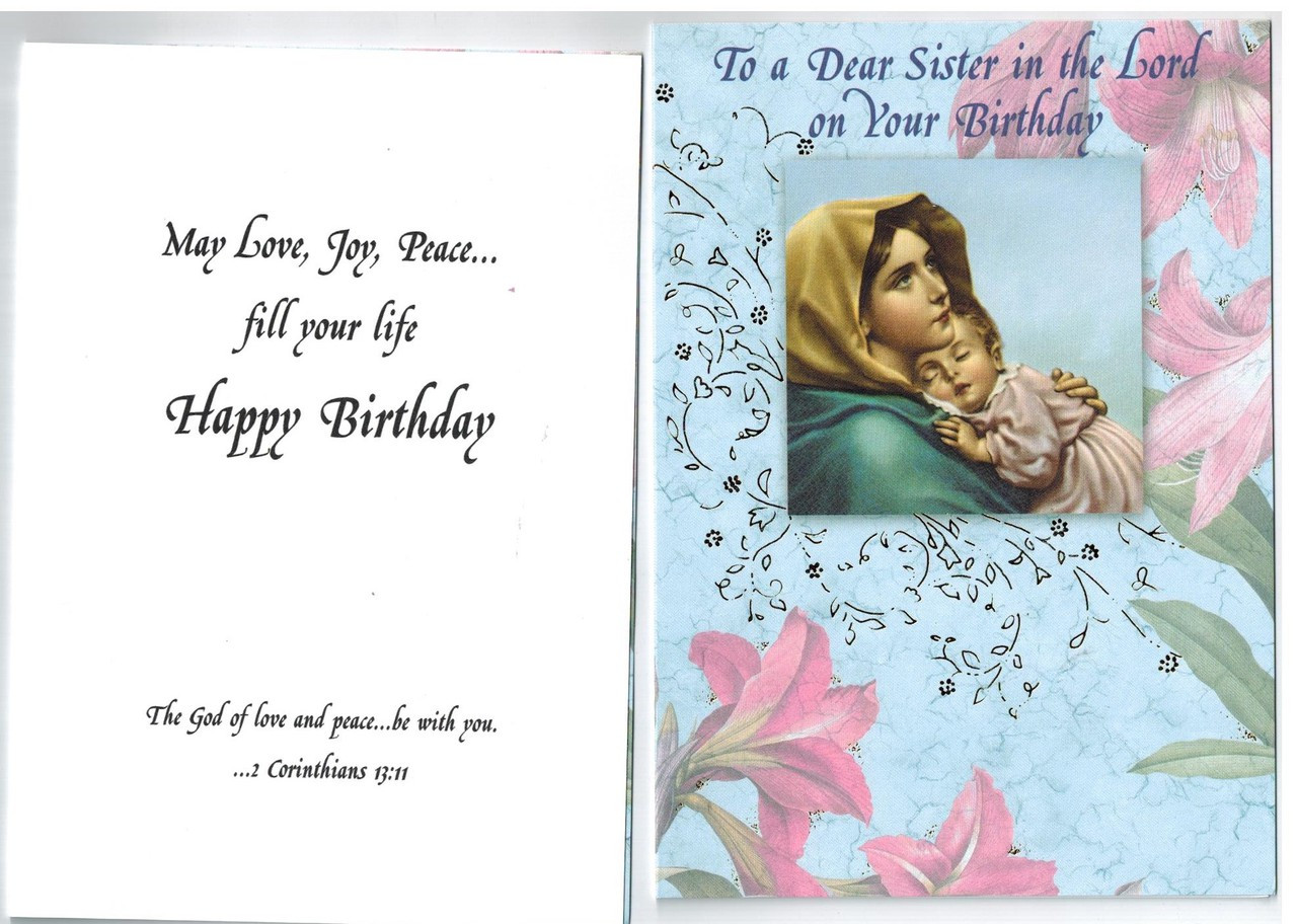Birthday Greeting Card For Religious Sister Or Nun Envelope