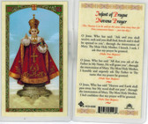 Infant of Prague Novena prayer, Laminated prayer card