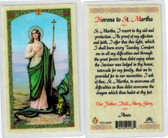 Novena to St. Martha, laminated prayer card