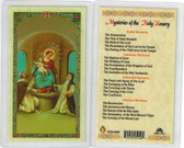 Mysteries of the Holy Rosary, laminated prayer card
