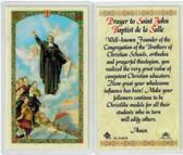 Prayer to Saint John Baptist de la Salle, laminated prayer card
