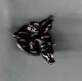 Guardian Angel Burnished Silver Lapel Pin