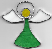 Hand crafted small sun catcher glass window Angel in Green and White