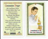 Laminated First Communion Prayer Card for Boys. Remembrance of my First Communion.