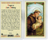 Laminated Prayer Card to Saint Anthony with Baby Jesus