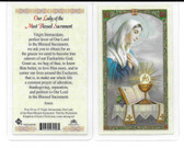 Laminated Prayer Card of Our Lady of the Most Blessed Sacrament.