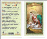 "Laminated Prayer Card of Our Lady ""Prayer for Life""."