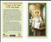 "Laminated Prayer Card ""A Prayer to the wound of the Holy Shoulder""."