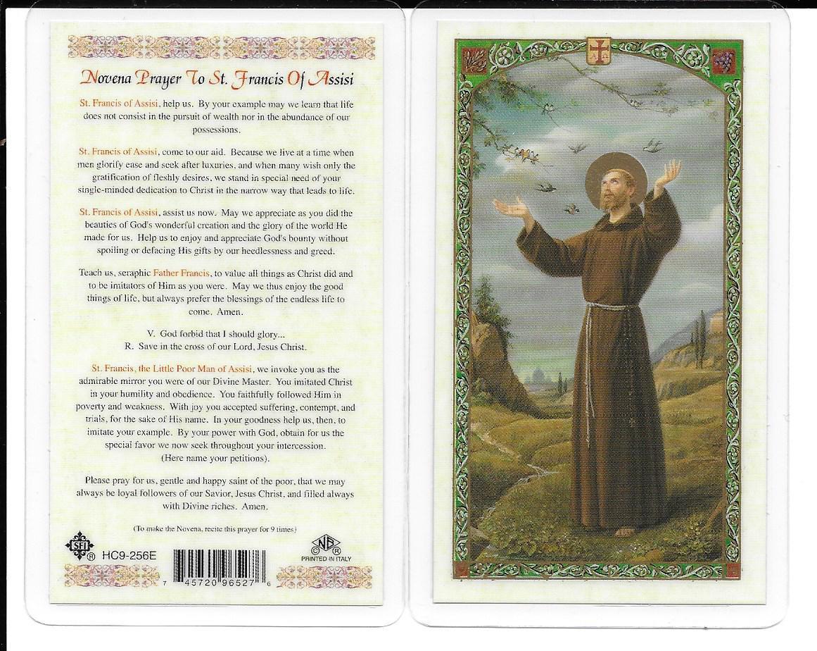 """Laminated Novena Prayer Card """"Prayer to St. Francis of Assisi""""."""