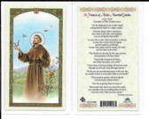 "Laminated Prayer Card ""Saint Francis of Assisi Assorted Quotes""."