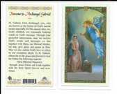 "Laminated Novena Prayer Card ""Archangel Gabriel""."