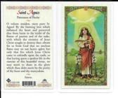 "Laminated Prayer Card ""St. Agnes""."