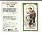 "Laminated Prayer Card ""Unfailing Prayer to St. Anthony'""."