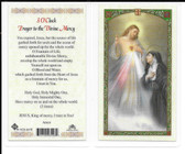 "Laminated Prayer Card ""3 O'clock Prayer to the Divine Mercy""."
