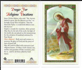 "Laminated Prayer Card ""Prayer for Religious Vocation""."