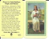 Laminated Prayer Card to Saint Barbara Virgin and Martyr