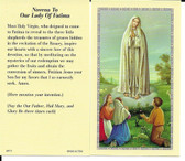 "50 cent Prayer Cards ""Novena To Our Lady Of Fatima Prayer"""