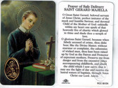 Prayer for a Safe Delivery to Saint Gerard Majella Prayer Card with Medal