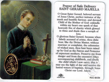 Prayer for a safe delivery to saint gerard majella prayer card with prayer for a safe delivery to saint gerard majella prayer card with medal aloadofball Image collections