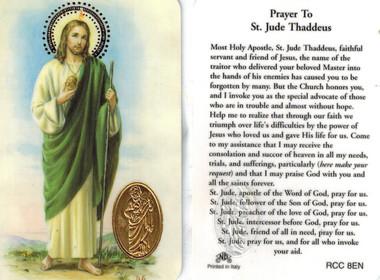 Prayer to saint jude thaddeus prayer card with medal thecheapjerseys Choice Image