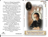 Prayer to Saint Josemaria Escriva for Diabetics, Prayer Card, and Medal