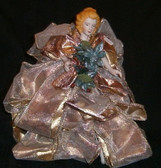 Ribbon Angel Tree Topper with Green Poinsettia