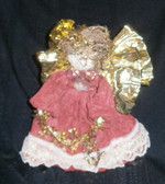 Red Corn Husk Angel for Tree or Table Top