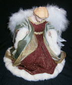 Fur and Feather, Velvet Gown Table Top Angel with Porcelain head and hands