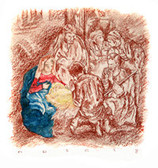 Adoration of the Magi, Original Print by Tvrtko Klobucar, Canadian artist.