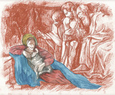 Arrival of the Shepherds, Original Print by Tvrtko Klobucar, Canadian artist.