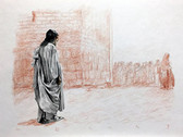 Jesus Leaves the Temple, Original Print by Tvrtko Klobucar, Canadian artist.