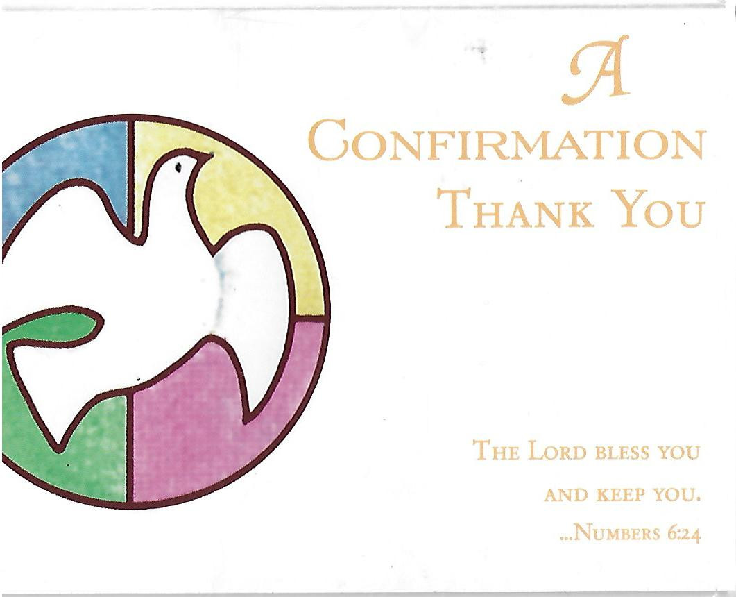 a confirmation thank you card