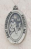 Saint Christopher Girl Basketball Medal On Chain