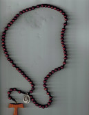 7 Decade Wooden Bead and Cord Franciscan Crown Rosary with Tau Cross and Saint Francis/Saint Anthony Medal